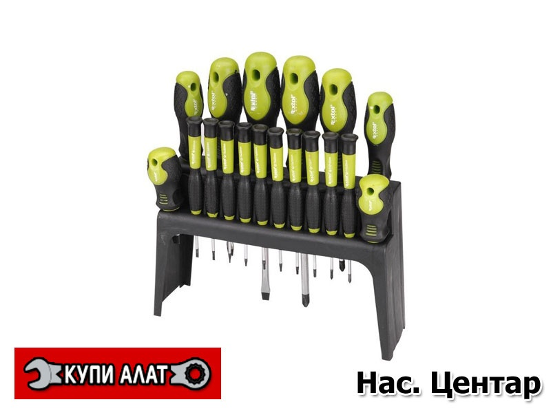 Сет одвртувачи од 18 делови EXTOL CRAFT/ Шифра 53145