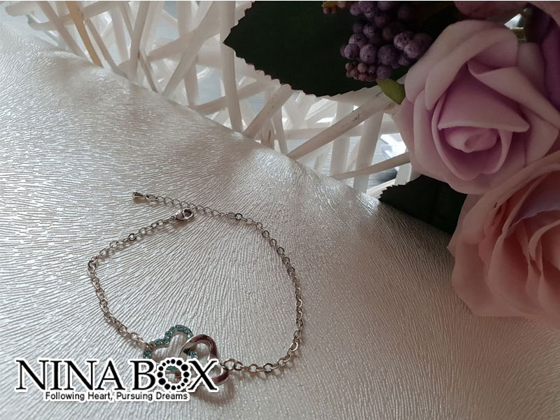 Ninabox®  'Double heart' алка (со Swarovski елементи)
