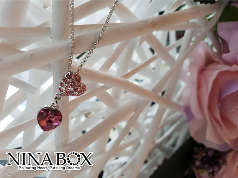 "Ninabox® ""Red heart"" ланче (со Swarovski елементи)"
