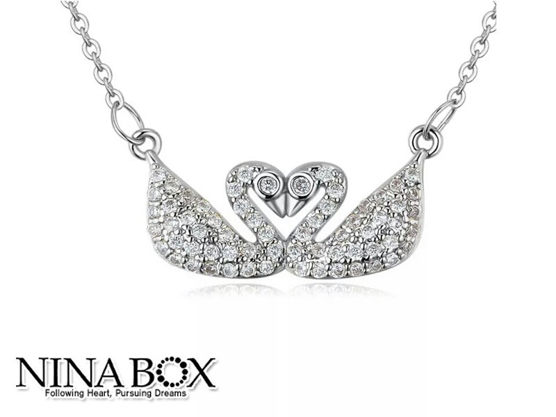 "Ninabox® ""Swan love"" ланче (со Swarovski елементи)"