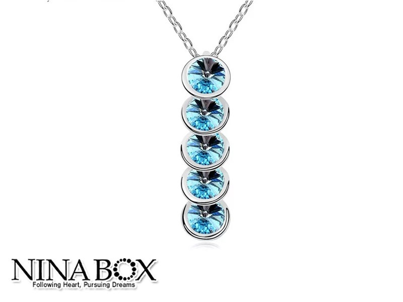 "Ninabox® ""Blue cristal"" ланче (со Swarovski елементи)"