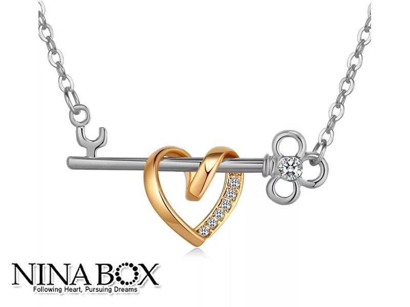 "Ninabox® ""Key of your heart"" ланче (со Swarovski елементи)"